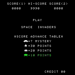 Space Invaders point value screen